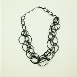 Silver loop modern multi strand necklace